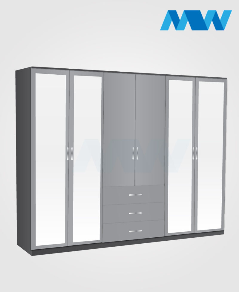 6 door wardrobe with 4 mirrors and 3 drawers black and grey