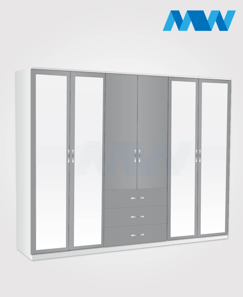 6 door wardrobe with 4 mirrors and 3 drawers grey and white