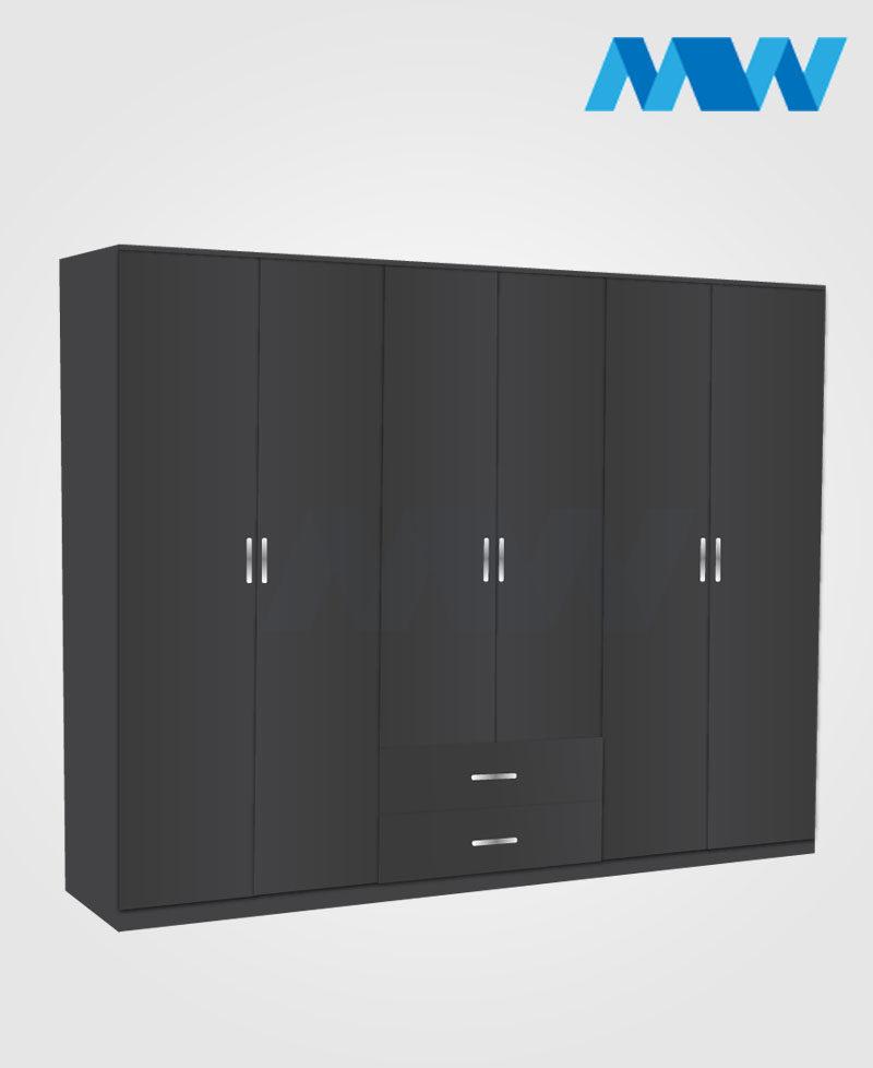 6 Door wardrobe with 2 drawers black