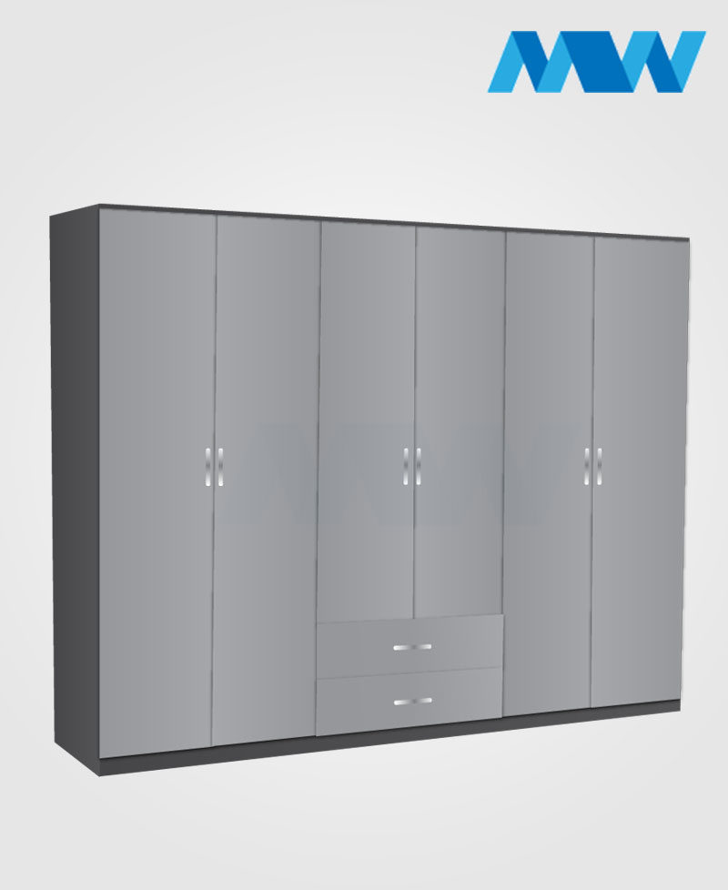 6 Door wardrobe with 2 drawers grey and black