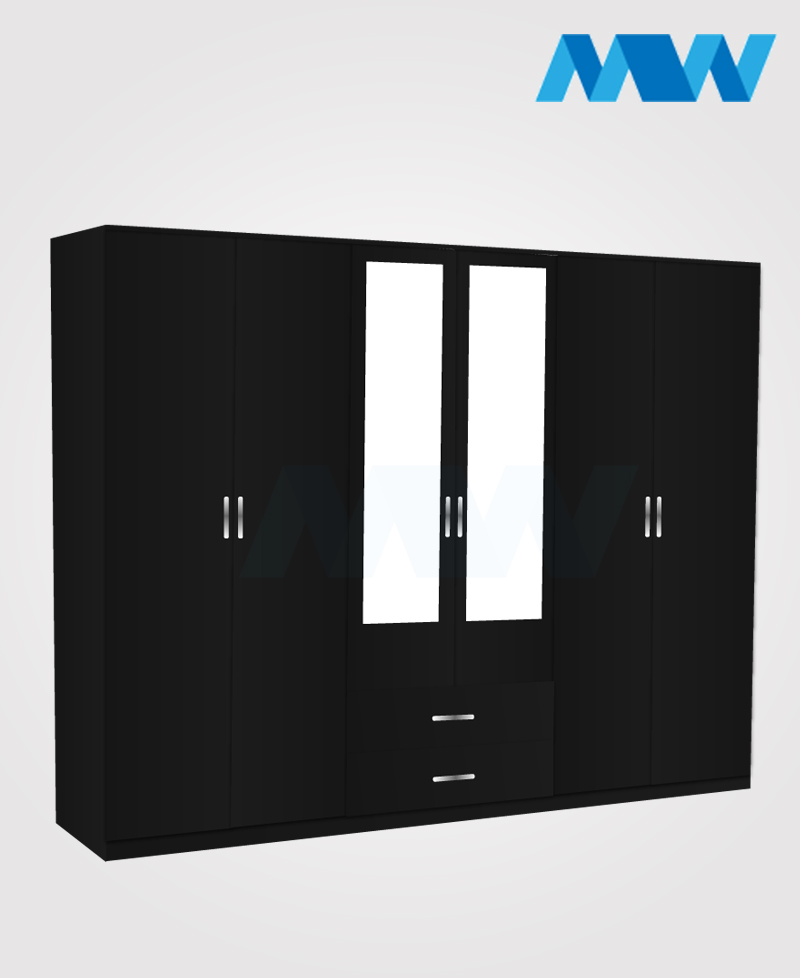6 door wardrobe with 2 mirrors and drawers black black