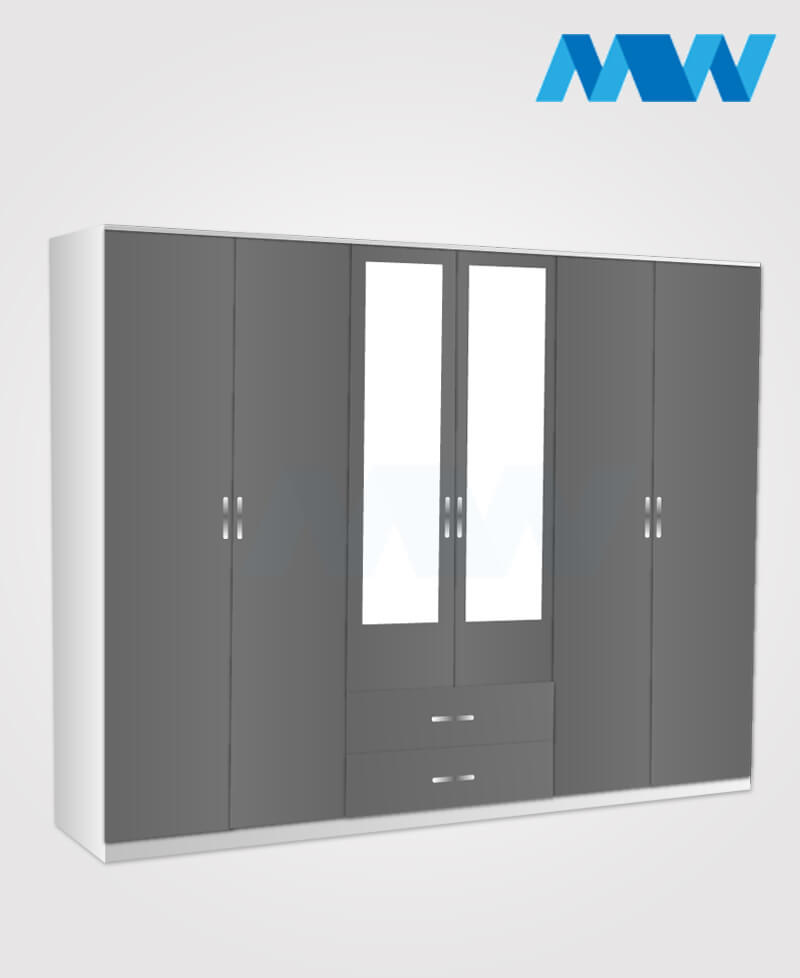 6 door wardrobe with 2 mirrors and drawers black grey and white