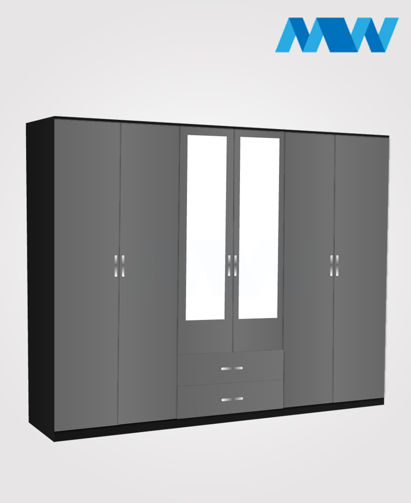 6 door wardrobe with 2 mirrors and drawers black grey and black