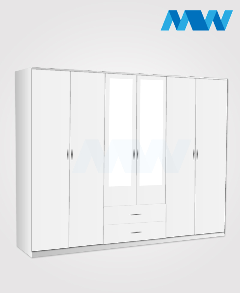 6 door wardrobe with 2 mirrors and drawers black white