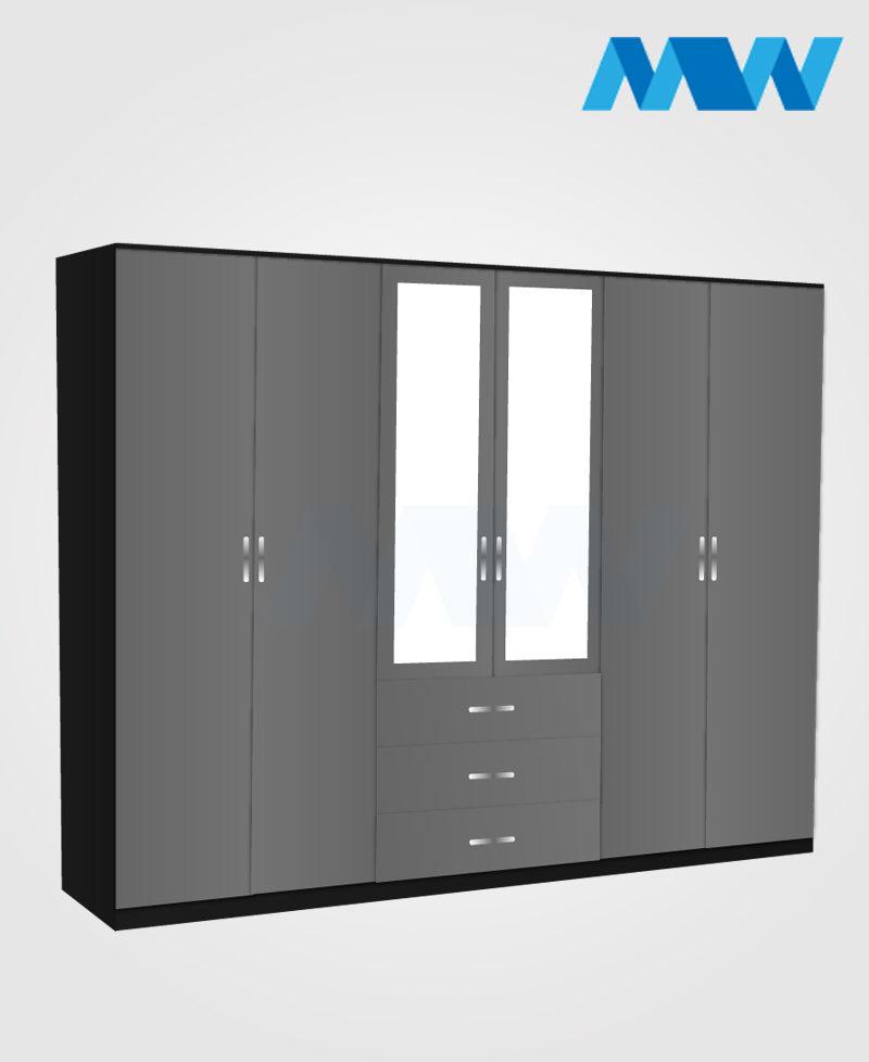 Maxi 6 Door Mirrored Gloss Wardrobe grey and black