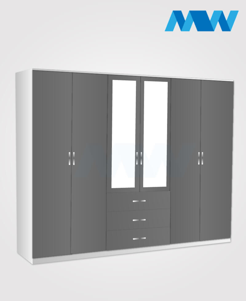 Maxi 6 Door Mirrored Gloss Wardrobe grey and white