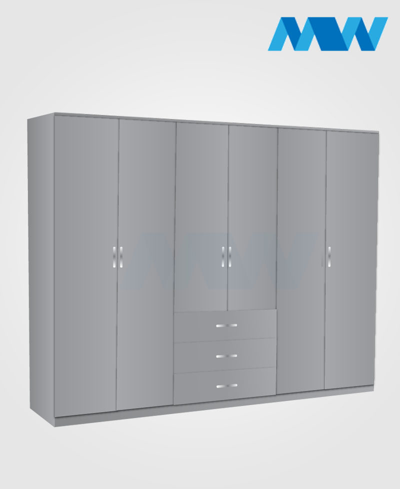 6 door wardrobe with 3 drawers grey