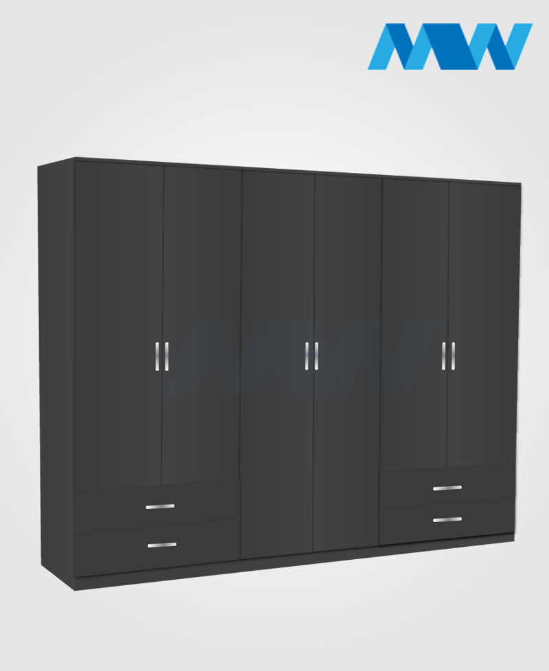 6 door wardrobe with 4 drawers black