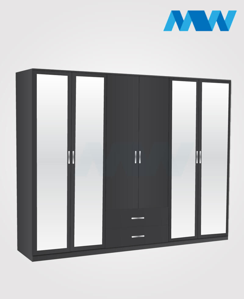 6 door wardrobe with 4 mirrors and 2 drawers black