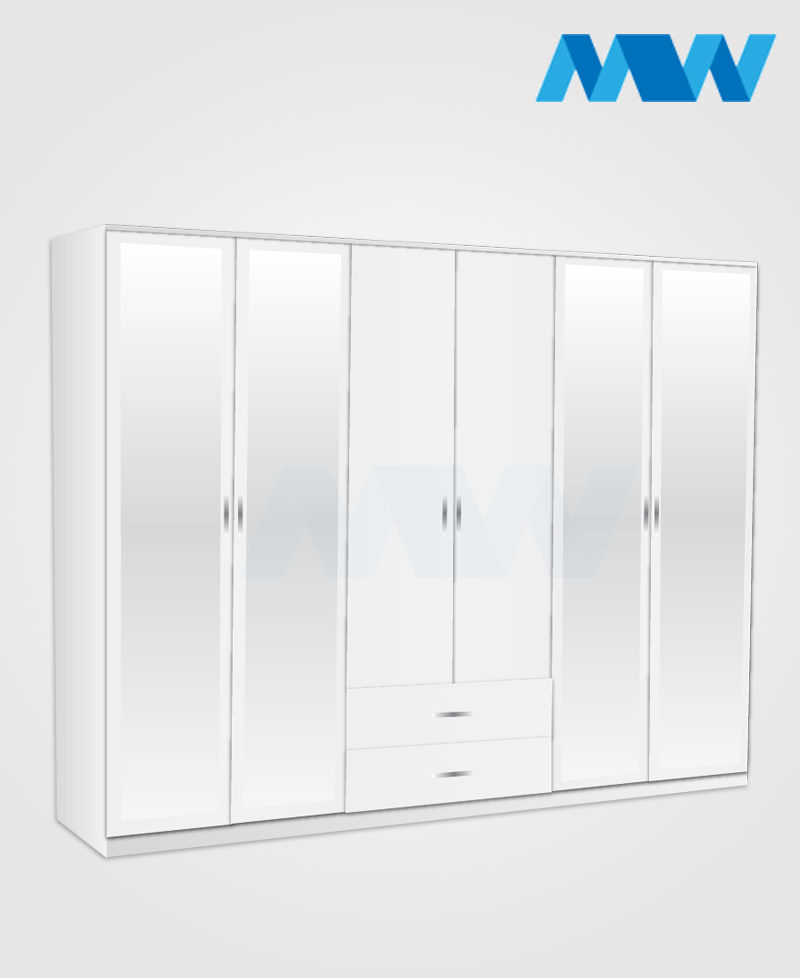 6 door wardrobe with 4 mirrors and 2 drawers white