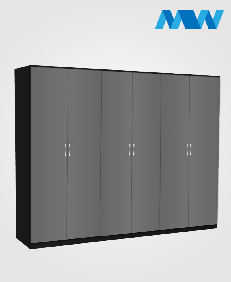 6 door plain wardrobe black and grey