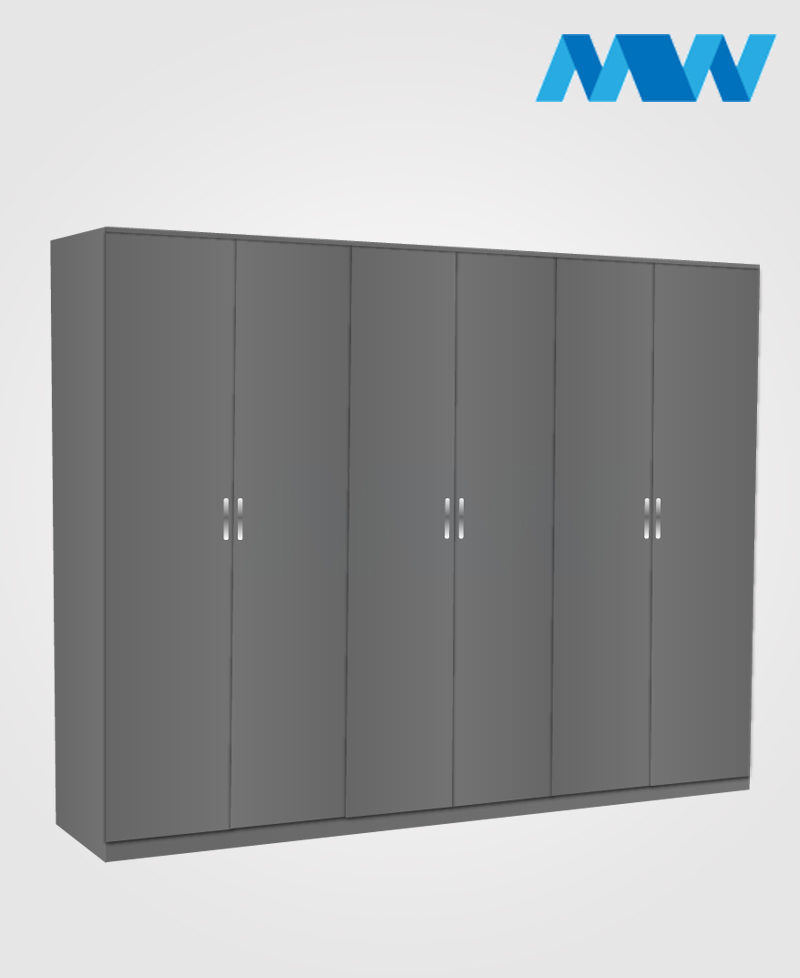 6 door plain wardrobe grey