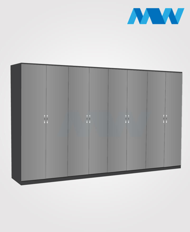 8 Door plain wardrobe black and grey