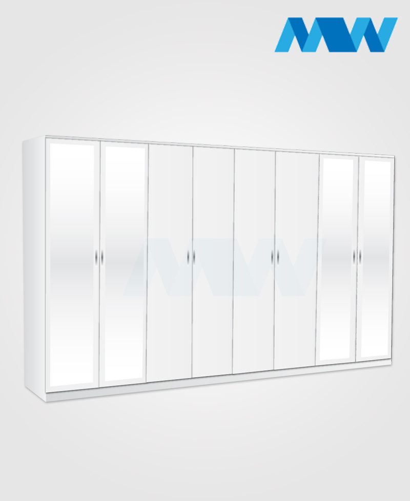 8 Door wardrobe with 4 side mirrors white