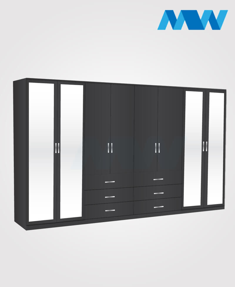 8 Door mirrored wardrobe with 6 drawers black