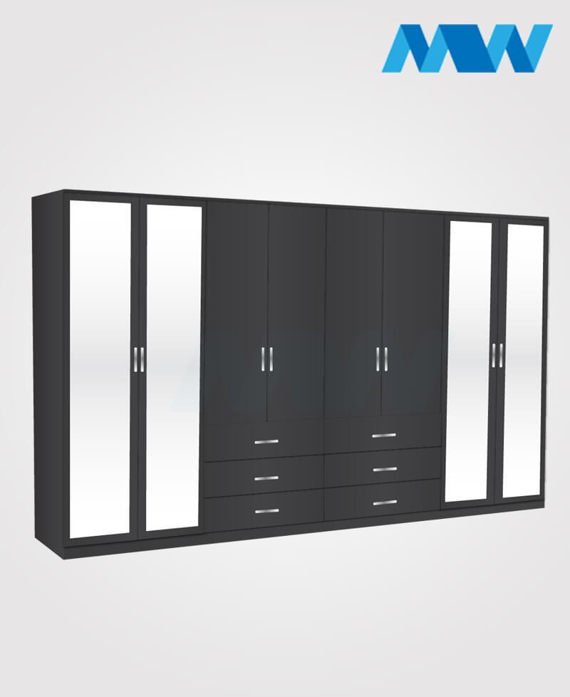 8 Door mirrored wardrobe with 6 drawers black