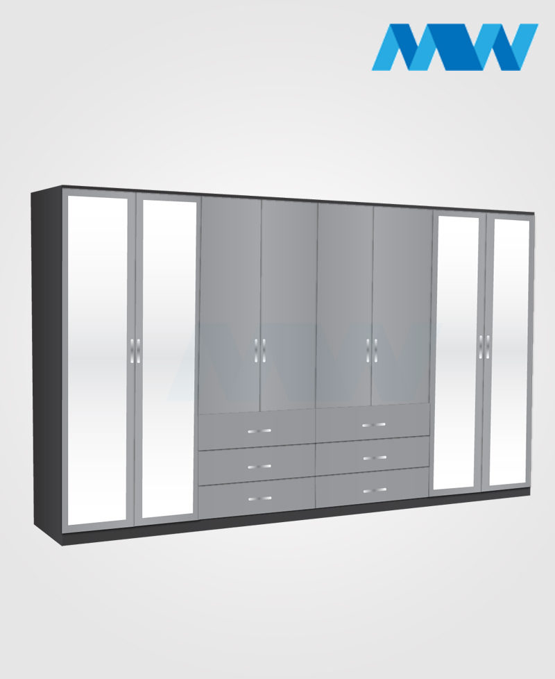 8 Door mirrored wardrobe with 6 drawers grey and black