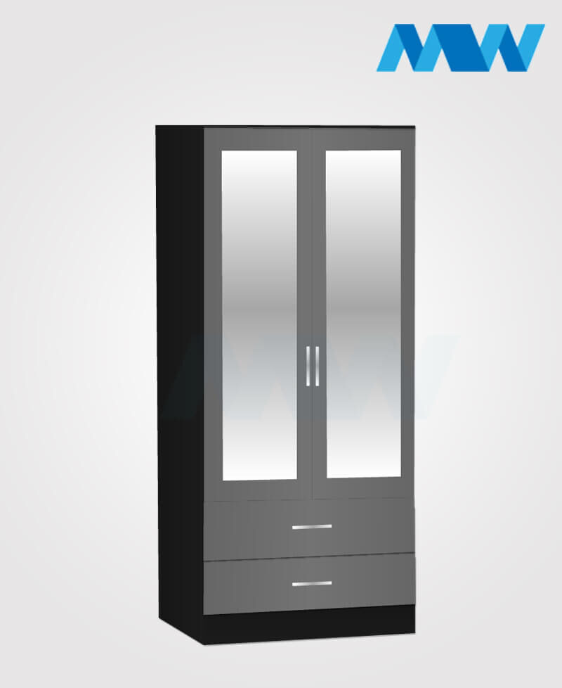 Zen 2 Door Wardrobe With 2 Mirror and 2 Drawer black and grey