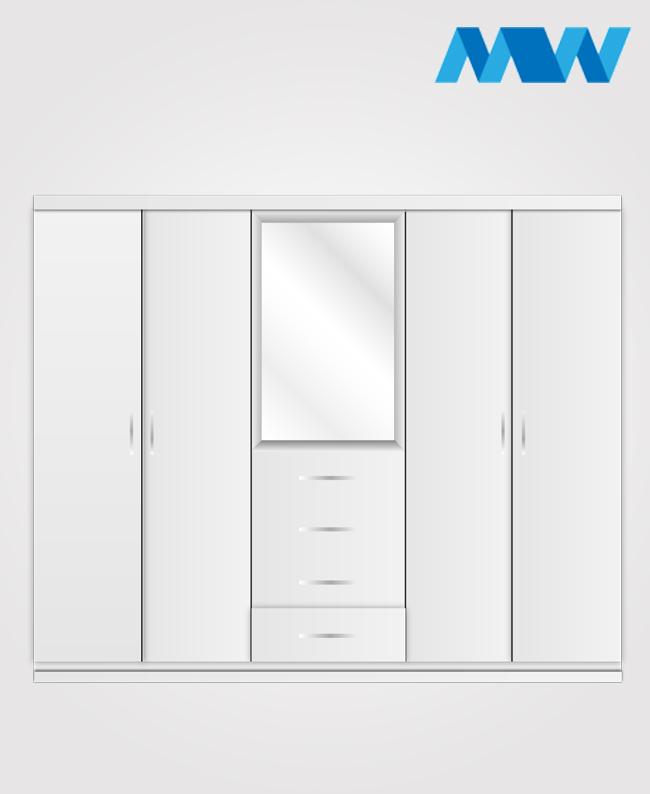Fitment 4 Door Wardrobe White