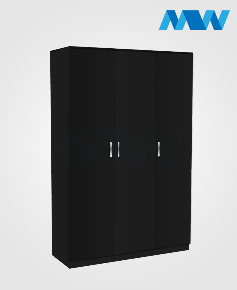 home 3 door wardrobe black