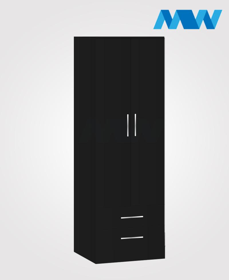 monoco 2 door wardrobe black