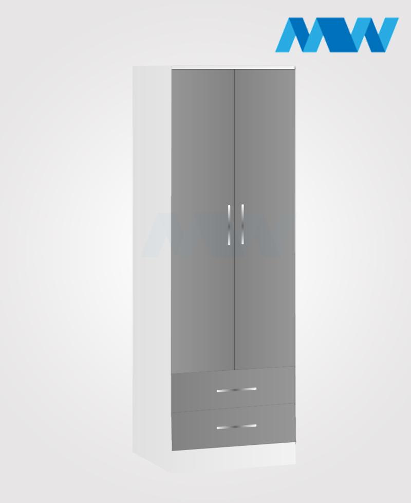monoco 2 door wardrobe grey and white
