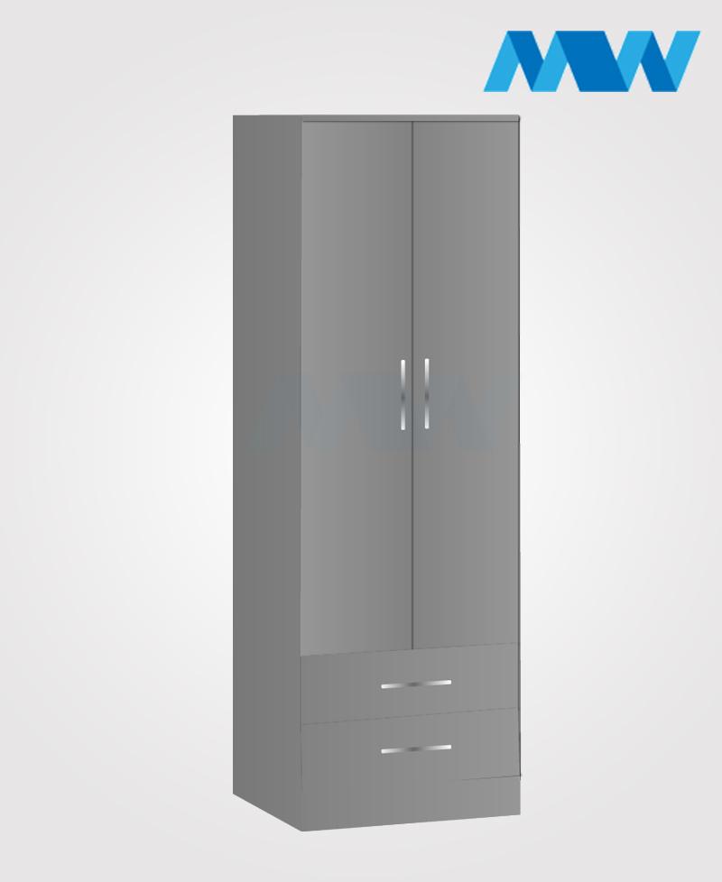 monoco 2 door wardrobe grey