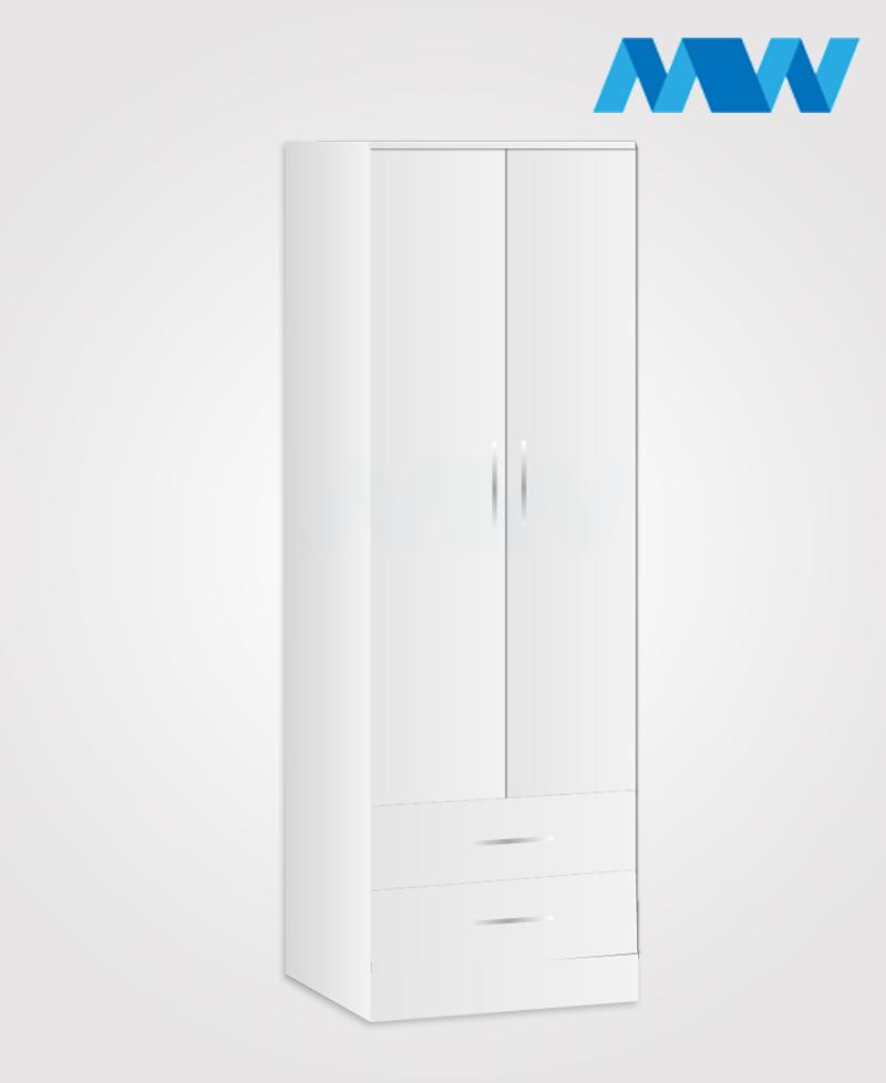 monoco 2 door wardrobe logo white