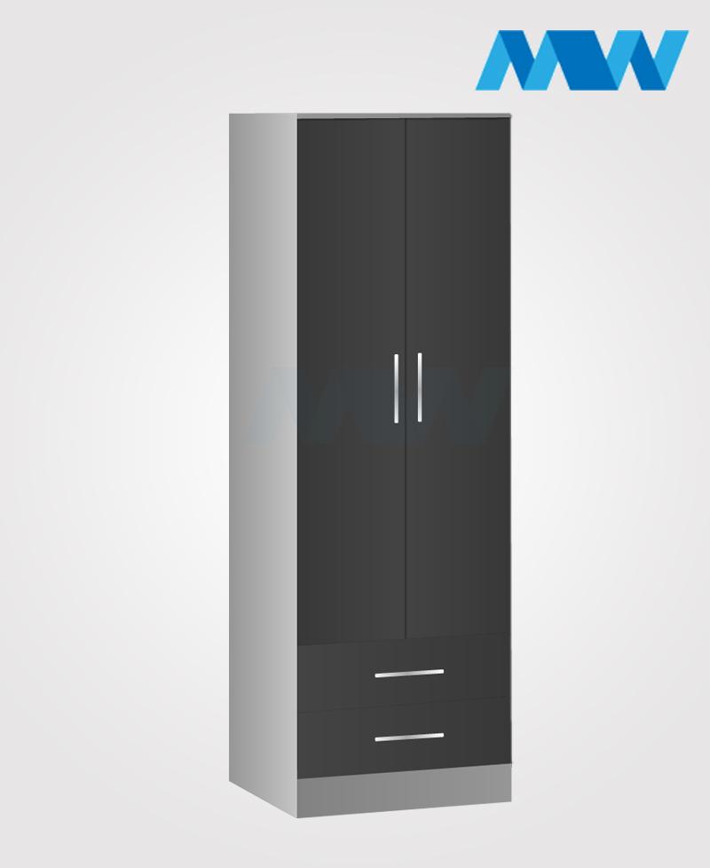 monocoo 2 door wardrobe black and grey