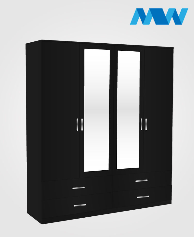 Omni 4 Door Combi Wardrobe With 2 Mirrors & 4 Drawers black