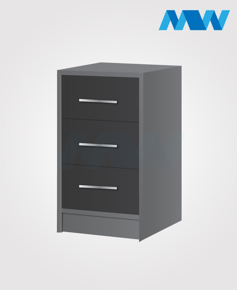 phoenix drawers 3 gloss bedside table BLACK and grey Bedside table