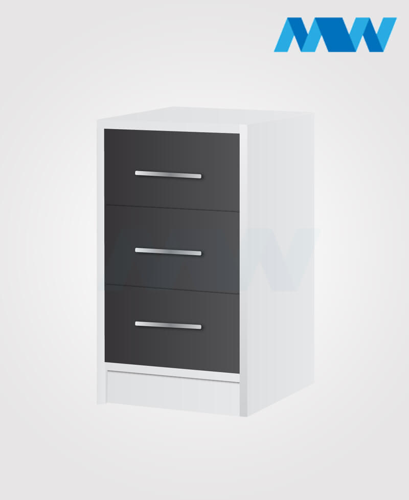 phoenix drawers 3 gloss black and white