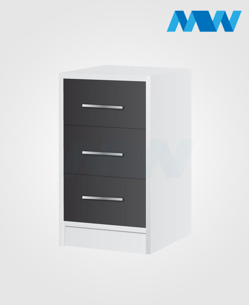phoenix drawers 3 gloss grey and white Bedside table