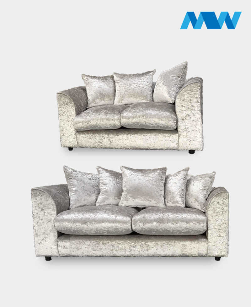Diana 2+3 Seater Crushed Velvet Sofa Set silver 2 seater