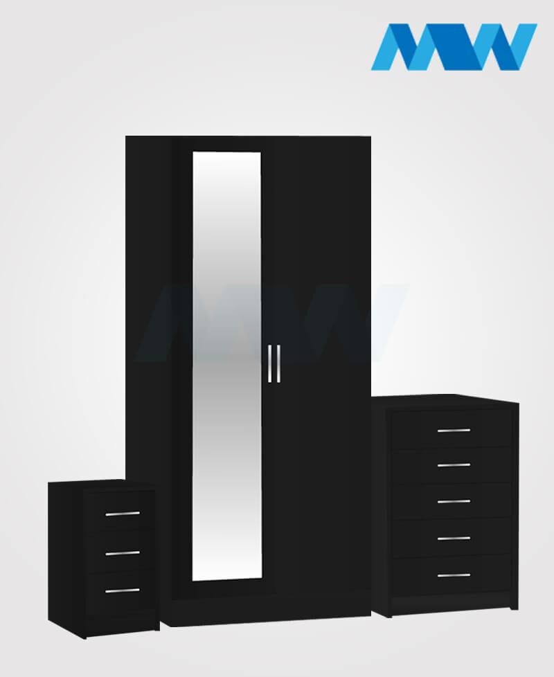 Home 3 Piece 2 Door Wardrobe Set With 1 Mirror black