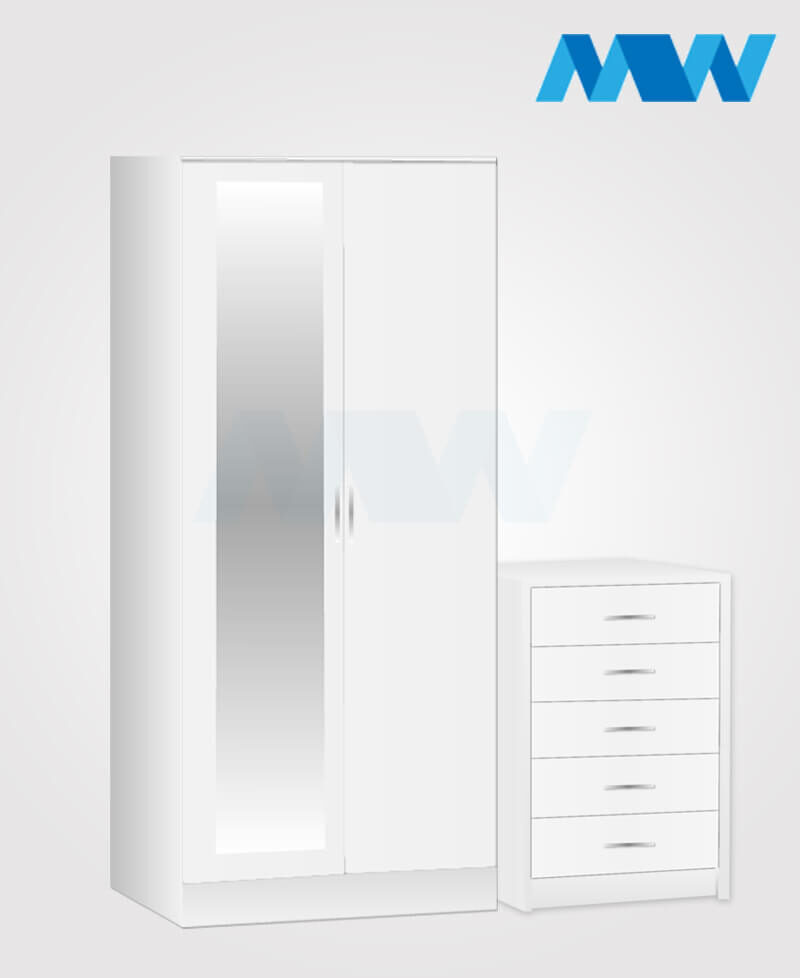 Home 2 Piece 2 Door Wardrobe With 1 Mirror and 2 Drawers white