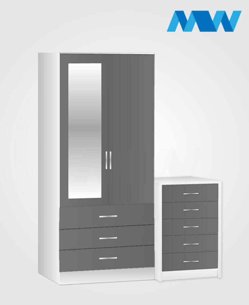 Home 3 Piece 2 Door Wardrobe Set With 1 Mirror and 3 Drawers grey and white
