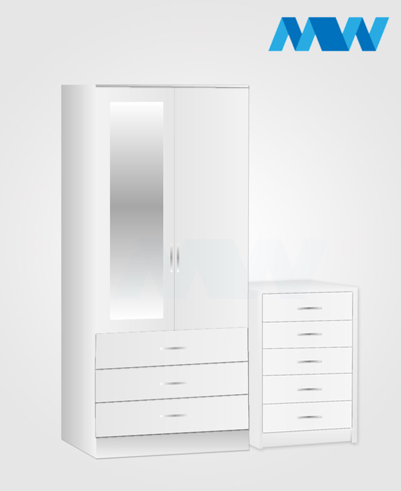 Home 3 Piece 2 Door Wardrobe Set With 1 Mirror and 3 Drawers white