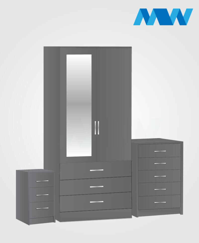 Home 3 Piece 2 Door Wardrobe Set With 1 Mirror and 3 Drawers grey