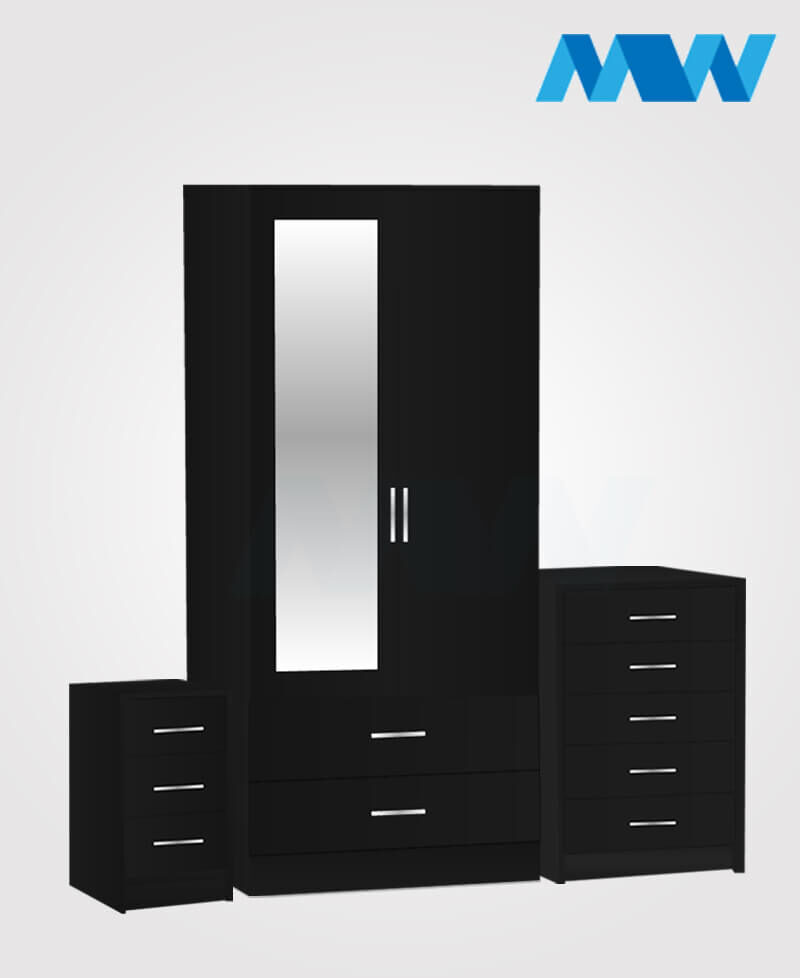 Home 3 Piece 2 Door Wardrobe With 1 Mirror and 2 Drawer black