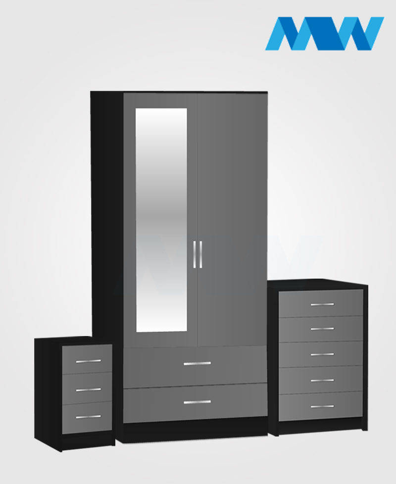 Home 3 Piece 2 Door Wardrobe With 1 Mirror and 2 Drawer grey and black