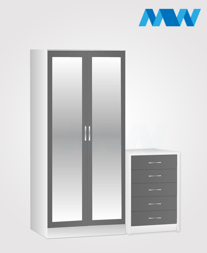 Home 2 Piece 2 Door Mirrored Wardrobe Set grey and white