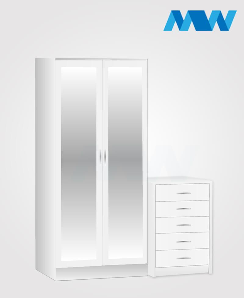 Home 2 Piece 2 Door Mirrored Wardrobe Set