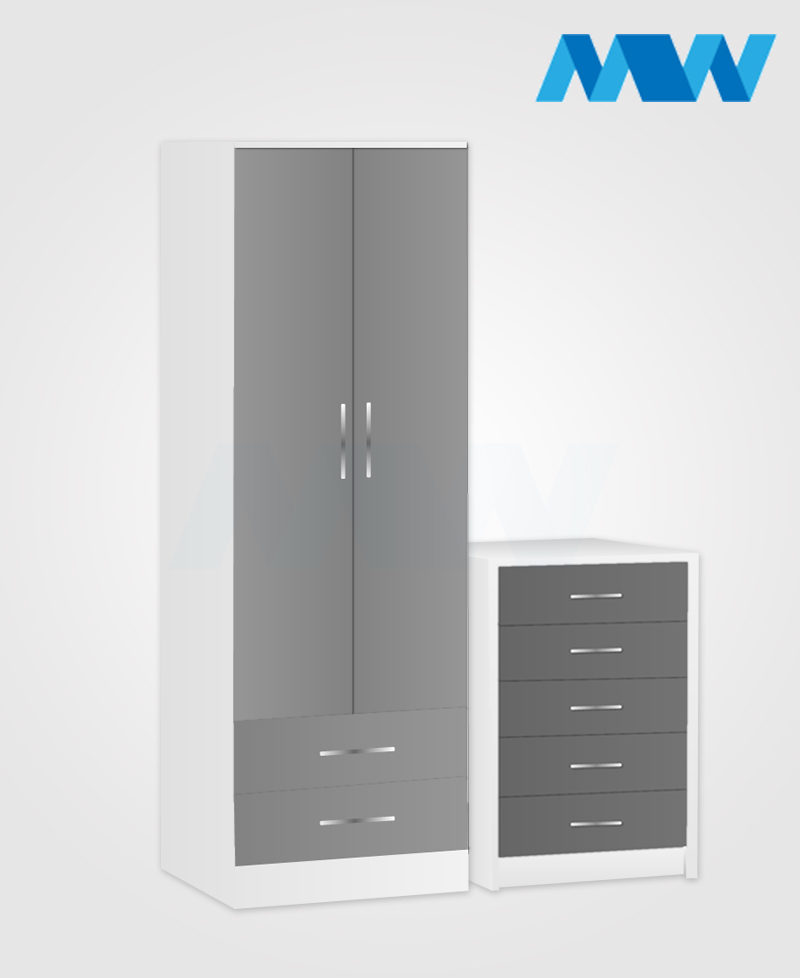 Home 2 Piece 2 Door Wardrobe Set With 3 Drawer grey and white