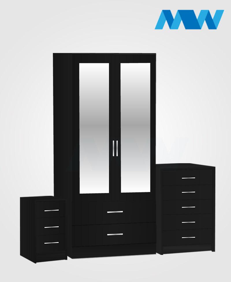 Home 3 Piece 2 Door Wardrobe Set With 2 Mirror and 2 Drawer black