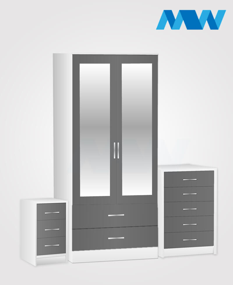 Home 3 Piece 2 Door Wardrobe Set With 2 Mirror and 2 Drawer grey and white