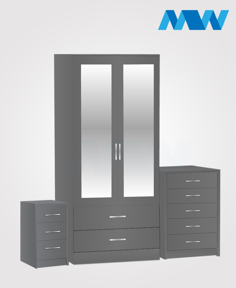 Home 3 Piece 2 Door Wardrobe Set With 2 Mirror and 2 Drawer grey