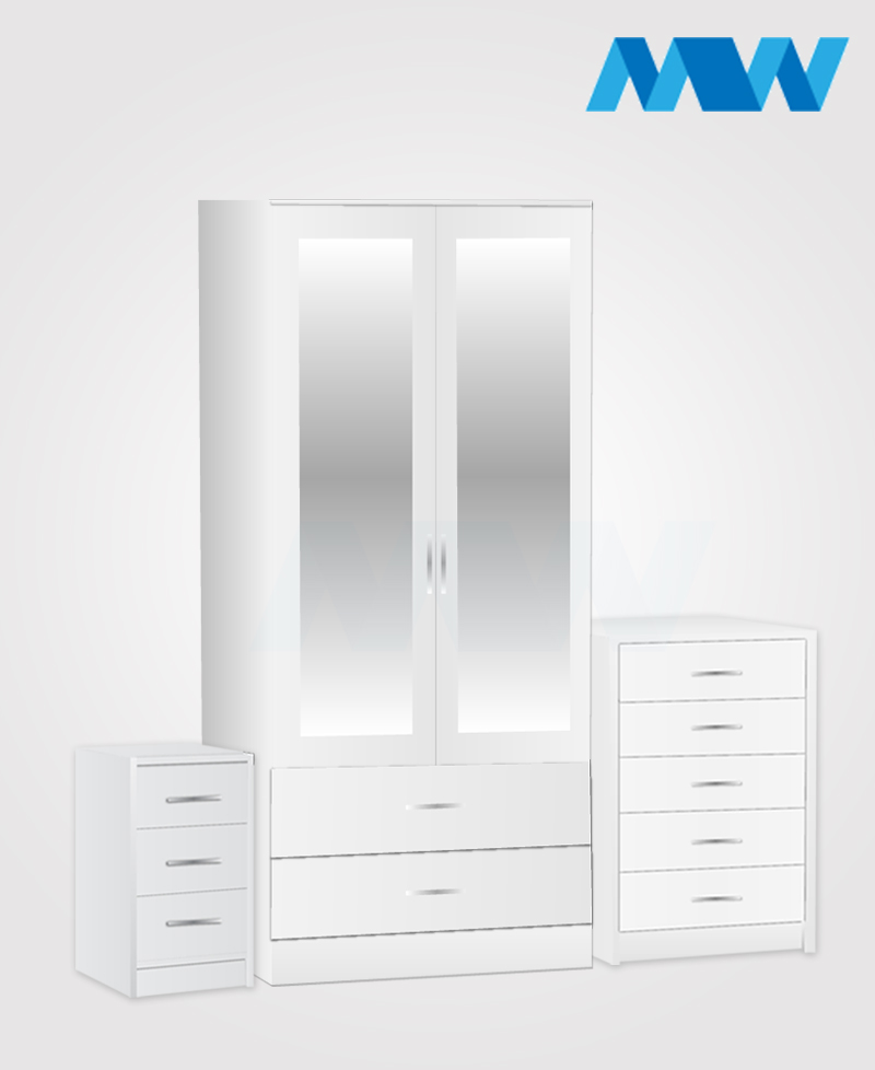 Home 3 Piece 2 Door Wardrobe Set With 2 Mirror and 2 Drawer white