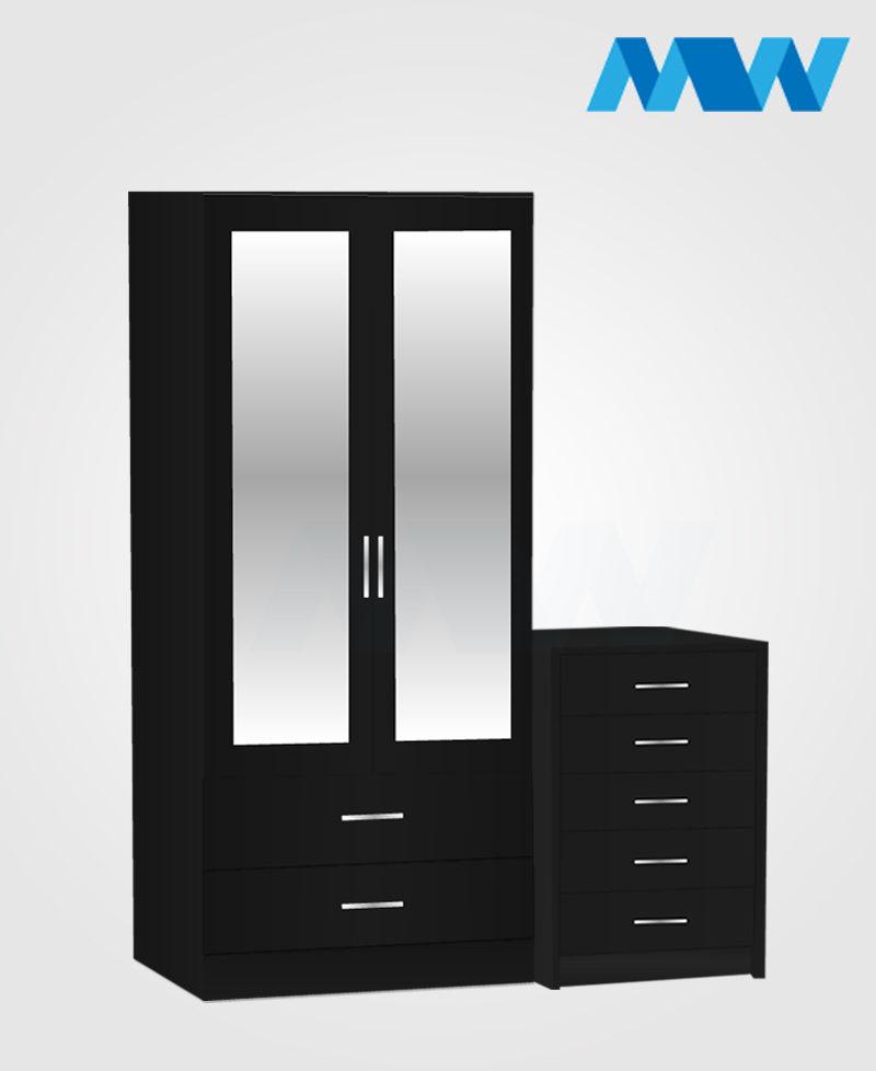 Home 2 Piece 2 Door Wardrobe Set With 2 Mirror and 2 Drawer black