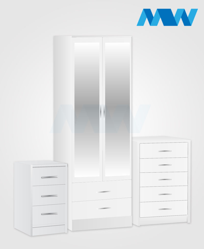 Home3 Piece 2 Door Wardrobe Set With 2 Mirror and 2 Drawers white